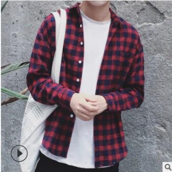 tb秋季新款棉衬衫男长袖格子日系衬衣男文艺休闲学院风一件代发潮