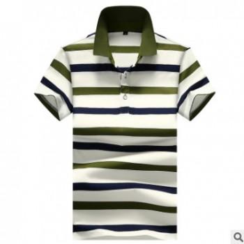 一件代发 夏季男士短袖t恤纯棉翻领潮牌polo衫条纹宽松潮流体恤
