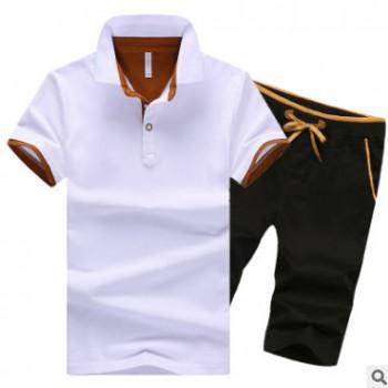 一件代发夏季纯棉短袖T恤男运动套装翻领POLO衫韩版短裤5分裤男装