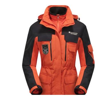 户外情侣冬三合一两件套防水保暖登山服中长款冲锋衣防寒风衣1798