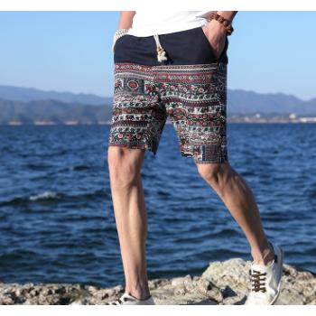 男式沙滩裤2018夏季新款五分裤子男士休闲短裤宽松薄款速干马裤潮