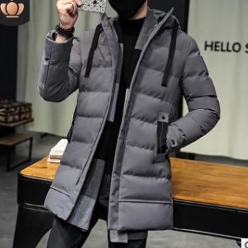 代发2018冬季新款中长款加厚保暖棉服青年韩版连帽棉袄羽绒棉服