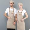 帆布围裙定制LOGO西餐厅烘焙蛋糕火锅店奶茶咖啡厅服务员挂脖围裙