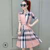 2019新款夏季棉质V领衬衫裙短袖气质格子收腰显瘦连衣裙女中长裙