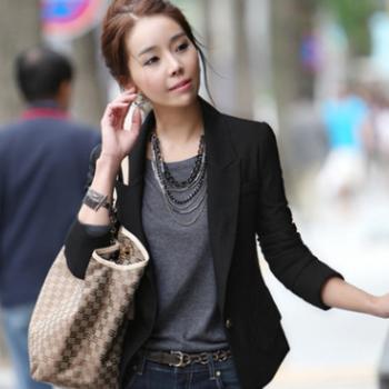 春款女装韩版修身女西装 女式修身西装外套 气质通勤西装女批发