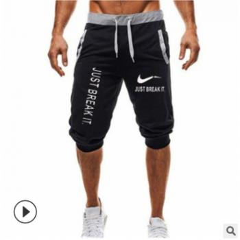 外贸爆款速卖通亚马逊热卖男士修身时尚七分裤松紧抽绳运动裤