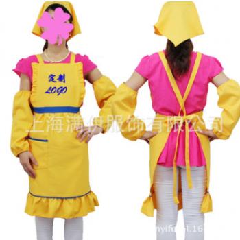 围裙定制时尚韩版荷叶边围衣套装服务员工作服定做刺绣印字logo