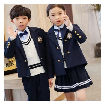 幼儿园园服秋冬新款英伦风西服班服四件套定制中小学生校服