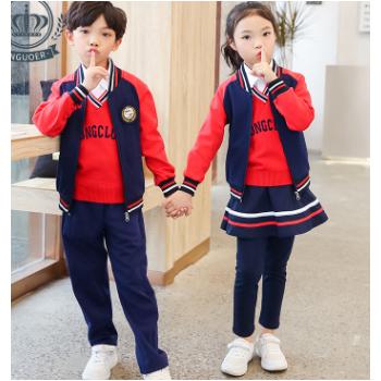安果儿小学生校服秋冬新款儿童运动棒球服四件套幼儿园园服定制