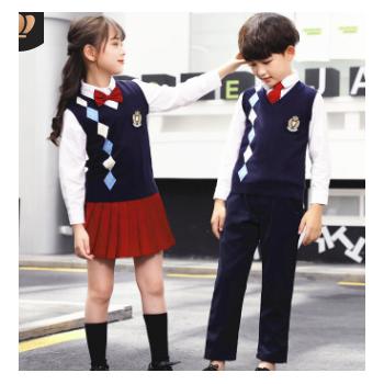 幼儿园园服春秋装新款儿童演出服礼服定制暗红裙子套装小学生班服
