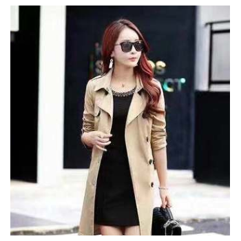 厂家直销风衣外套女中长款春秋装新款双排扣百搭气质韩版修身上衣