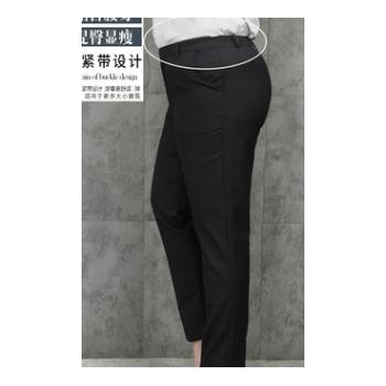 69# 职业正装裤女西裤直筒长裤子西装裤腰部带松紧黑色工