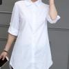 白衬衫女中长款长袖韩版宽松百搭学生春季打底bf衬衣大码蓝色粉红