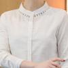 新款春秋韩版纯色打底衫镂空圆领长袖修身棉麻休闲衬衫女显瘦收腰