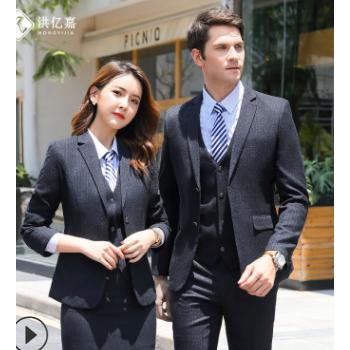 厂家直销 2019新款高档男式商务西装 深蓝色条纹修身职业西服男