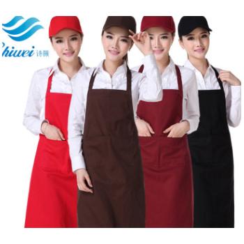 现货批发定制全棉围裙礼品围裙挂脖工作服餐厅服务员服装通用