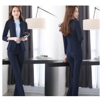 秋冬职业装女式白领 修身韩版小西装女外套正装 黑色外套+西裤