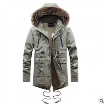 冬季欧美风外贸大毛领棉衣男中长款加绒保暖工装户外青年纯棉棉服