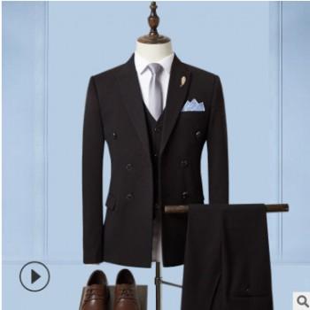 西装男2019新款英伦风 商务西服套装都市白领上班西装三件套代发