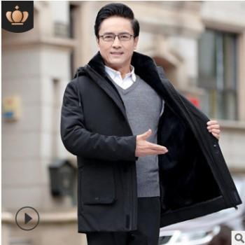 19爸爸冬装外套加绒加厚中年男士棉衣中老年双层可脱卸中长款棉袄