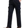 男式休闲裤冬季加厚大码男裤纯棉中腰直筒男士长裤多袋工装男裤