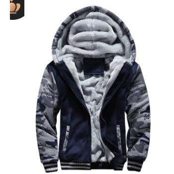 2019欧美爆款冬装加绒男装迷彩运动服卫衣外套大码加厚保暖单上衣