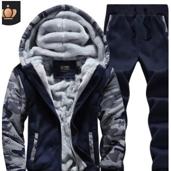 亚马逊外贸加绒加厚卫衣套装开衫大码连帽大外套男装跨境专供套装
