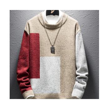 外贸款式实力厂家直销男式毛衣秋季新款青年撞色个性修身针织衫