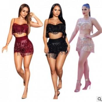 J6128欧美女装亚马逊爆款性感亮片流苏两件套夜店风亮片套装