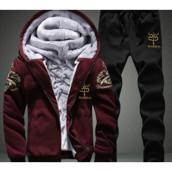 爆款冬季加绒加厚男士休闲运动套装青年韩版连帽卫衣套装男潮批发