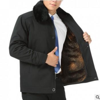 一件代发男装新款中年男士加厚夹克衫秋冬装中老年人上衣爸爸外套