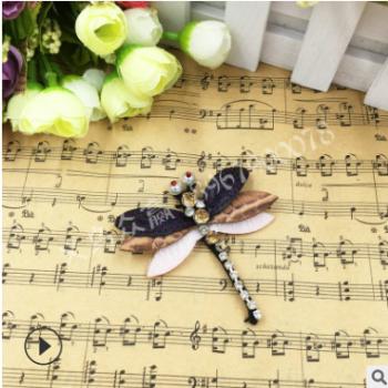 跨境专供鞋服包包装饰补丁贴手工钉珠手缝钻蜻蜓布贴动物图案装饰