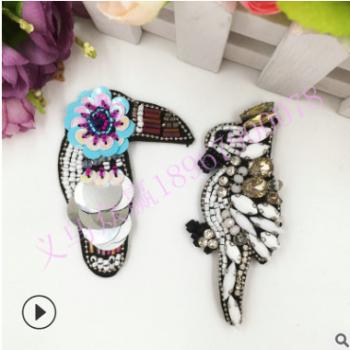 跨境专供重工手工钉珠小鸟布贴服装辅料饰品耳环DIY可来样定做