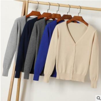 V领保暖纯色医院医生护士羊毛衫定制 秋冬季公司针织衫印绣LOGO