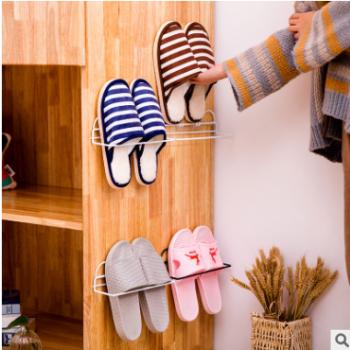 家用简易铁艺单层双层鞋子收纳架家用卫生间免打孔收纳小鞋架