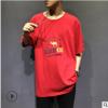 夏季男士加肥加大码圆领T恤肥佬宽松嘻哈半袖青少年运动短袖t恤潮