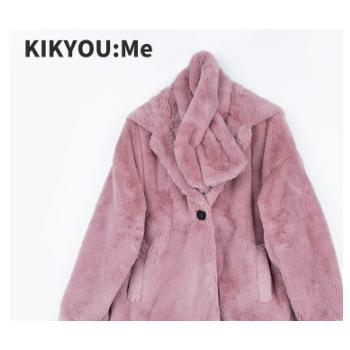 KIKYOU:Me 原创女装冬新款仿兔绒外套简约纯色毛绒大衣 一件代发