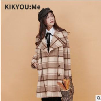 KIKYOU:Me 工作室原创女装冬双排扣格子大衣中长款外套 一件代发