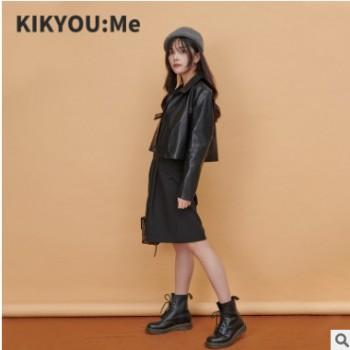 KIKYOU:Me 工作室原创设计皮衣女装欧美短款PU夹克外套 一件代发