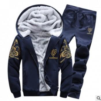 秋季运动套装男加绒加厚男式休闲套装连帽开衫卫衣保暖两件男套装