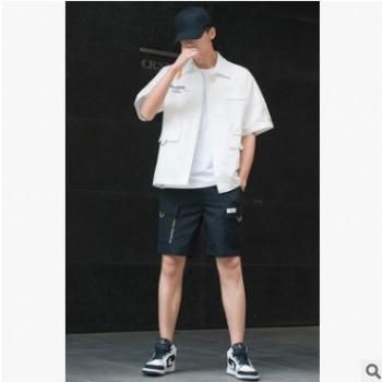 短袖T恤男休闲运动套装韩版短裤沙滩裤潮流学生帅气上衣男工装套