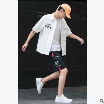 男士短袖T恤夏季韩版休闲套装2019新款潮青少年帅气工装五分短裤