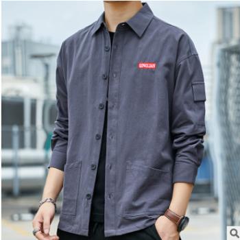 工装长袖衬衫男式潮流纯棉寸衣宽松秋装复古日系翻领衬衣男装外套