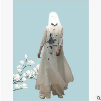 绣花蝴蝶连衣裙中式复古禅服长裙袍子