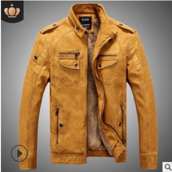 厂家直销跨境专供批发爆款男式皮衣加绒宽松皮夹克水洗PU男装外套