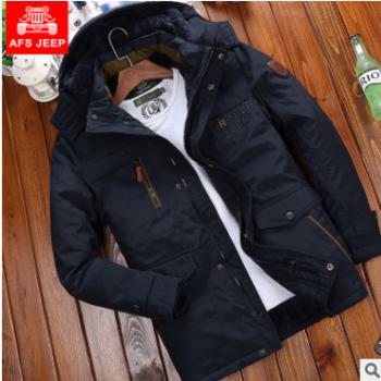 男式棉服冬季加绒加厚保暖棉衣爸爸装棉袄男外套