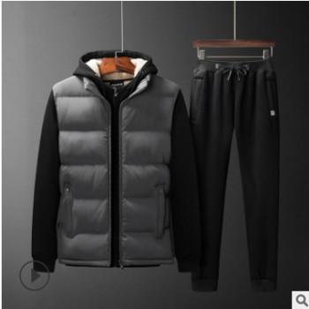 加绒加厚运动套装男士羊羔绒保暖外套大码青年休闲卫衣卫裤三套装