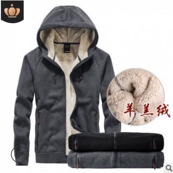 加绒加厚卫衣男羊羔绒秋冬运动休闲连帽开衫上衣宽松大码保暖外套