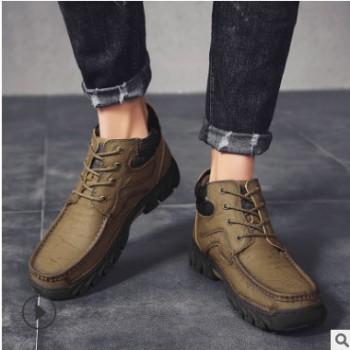 马丁靴男2020春季新款户外休闲工装靴潮流高帮鞋耐磨防滑登山鞋男