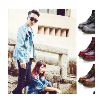 速卖通男式皮靴6孔马丁靴经典复古男靴加绒高帮鞋短靴男英伦牛皮